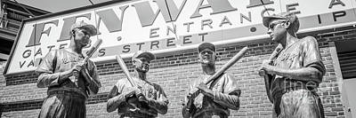 Fenway Park Photograph - Boston Fenway Park Sign And Four Bronze Statues by Paul Velgos