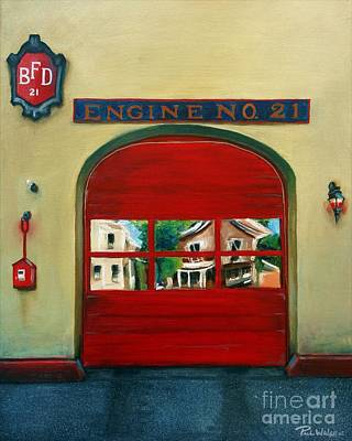Red Door Painting - Boston Fire Engine 21 by Paul Walsh