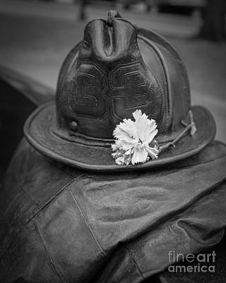 Flower Memorial Photograph - Boston Fireman Memorial Back Bay by Edward Fielding