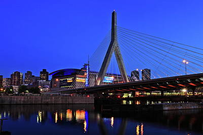 Glowing Photograph - Boston Garden And Zakim Bridge by Rick Berk