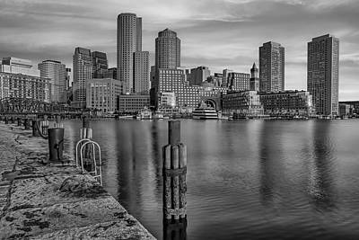 Photograph - Boston Habor Sunrise Bw by Susan Candelario
