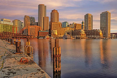 Photograph - Boston Habor Sunrise by Susan Candelario