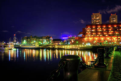 Photograph - Boston Harbor At Night At Marriott Long Wharf - North End by Joann Vitali