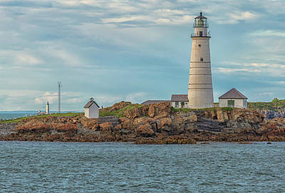 Photograph - Boston Harbor Beacons At Sunset by Brian MacLean