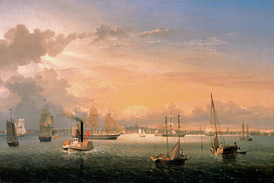 Painting - Boston Harbor By Fitz Henry Lane 1854 by Fitz Henry Lane