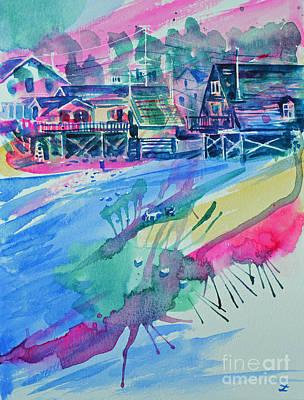 Painting - Boston Harbor Houses by Zaira Dzhaubaeva