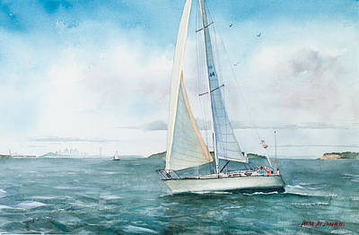 Sailboat Ocean Painting - Boston Harbor Islands by Laura Lee Zanghetti