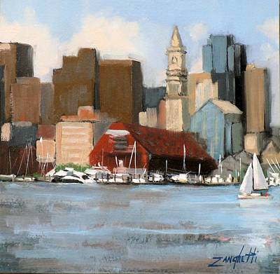 City Scape Painting - Boston Harbor by Laura Lee Zanghetti