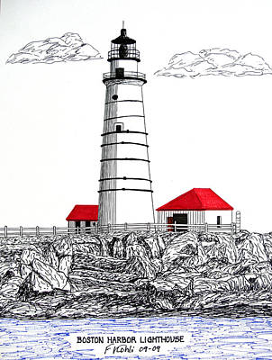 Drawing - Boston Harbor Lighthouse Dwg by Frederic Kohli