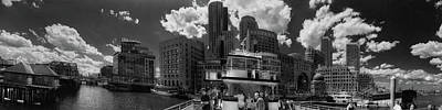 Photograph - Boston Harbor Panoramic In Black And White by Joann Vitali