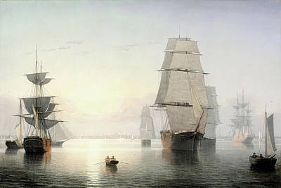 Painting - Boston Harbor Sunset By Fitz Henry Lane 1855 by Fitz Henry Lane