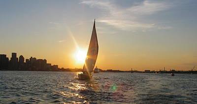Boston Harbor Photograph - Boston Harbor Sunset by Laura Lee Zanghetti