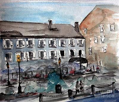 Boston Painting - Boston Harbor Walkway by Julie Lueders