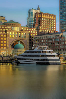 Photograph - Boston Harborwalk Daybreak by Susan Candelario