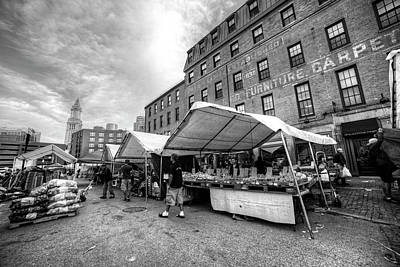 Photograph - Boston Haymarket Boston Ma Black And White by Toby McGuire