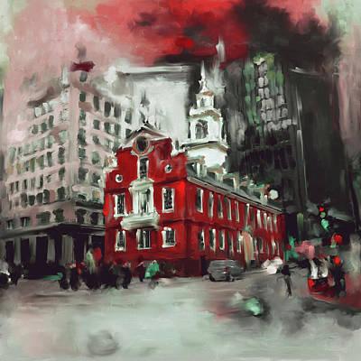 Boston Landmark Painting - Boston I 470 II by Mawra Tahreem