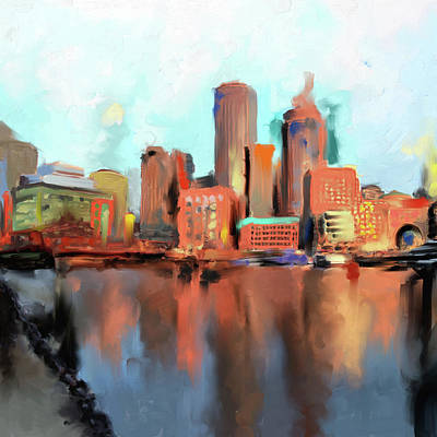 Charles River Painting - Boston II 480 I by Mawra Tahreem