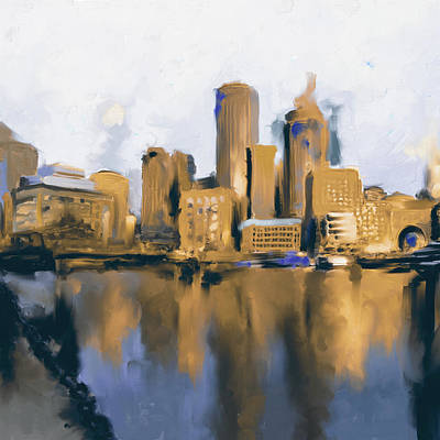 Charles River Painting - Boston II 480 II by Mawra Tahreem