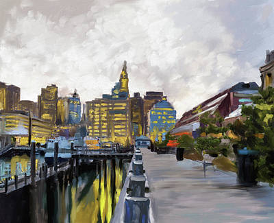 Charles River Painting - Boston IIi 483 I by Mawra Tahreem