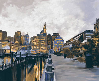 Charles River Painting - Boston IIi 483 II by Mawra Tahreem