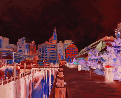 Charles River Painting - Boston IIi 483 IIi by Mawra Tahreem