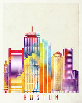 Boston Landmark Painting - Boston Landmarks Watercolor Poster by Pablo Romero