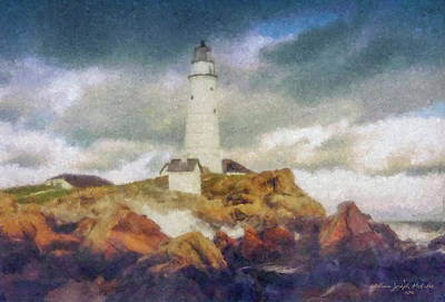 Painting - Boston Light On A Stormy Day by Bill McEntee