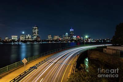 Photograph - Boston Lightbeams by Mark Brennan