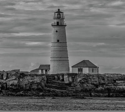 Photograph - Boston Lighthouse In Black And White by Brian MacLean