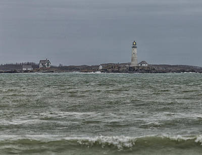 Photograph - Boston Lighthouse Waves by Brian MacLean