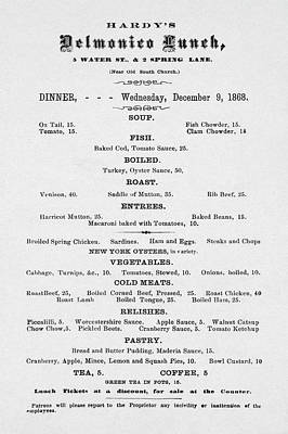 Photograph - Boston Lunch Menu 1868 by Daniel Hagerman