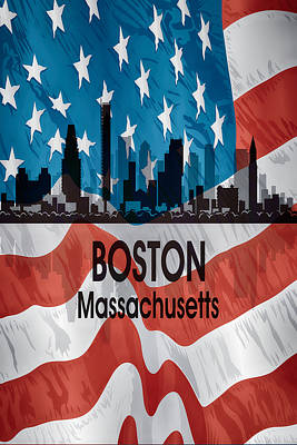 Digital Art - Boston Ma American Flag Vertical by Angelina Vick