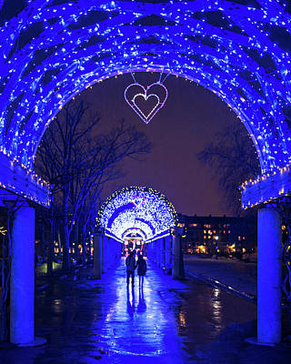 Photograph - Boston Ma Christopher Columbus Park Trellis Lit Up For Valentine's Day Rainy Night by Toby McGuire
