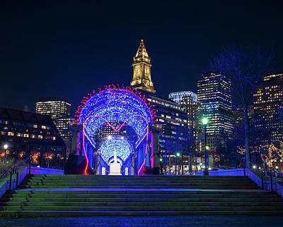 Photograph - Boston Ma Christopher Columbus Park Trellis Lit Up For Valentine's Day by Toby McGuire