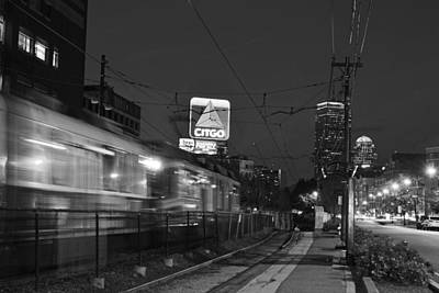 Boston Ma Green Line Train On The Move Black And White Art Print by Toby McGuire
