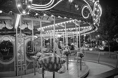 Photograph - Boston Ma Greenway Carousel Lit Up In Blue Black And White by Toby McGuire