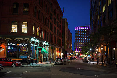 Photograph - Boston Ma High Street Nightlife Night Time by Toby McGuire
