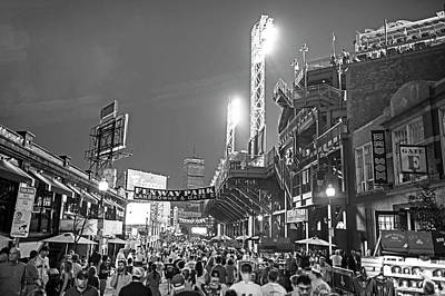 Photograph - Boston Ma Lansdowne St Fenway Park Game Night Black And White by Toby McGuire