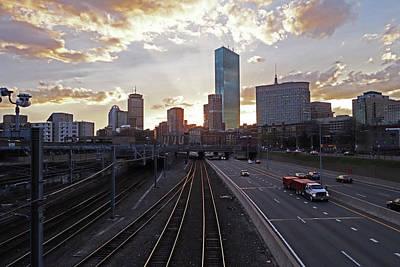 Boston Ma Mass Pike Boston Skyline Sunset Art Print