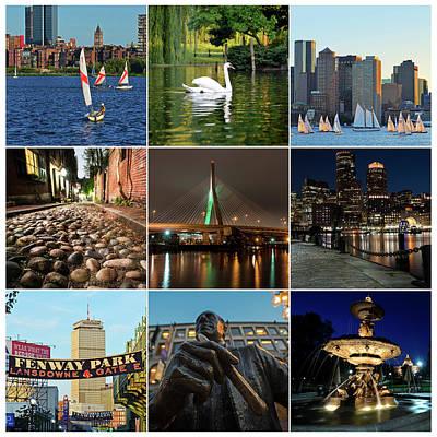 Boston Ma Nine Image Collage 1 Art Print