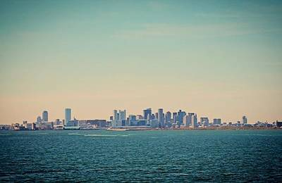 Photograph - Boston Ma Skyline From Boston Harbor by Michael Saunders