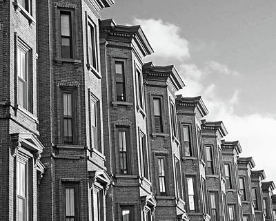 Photograph - Boston Ma South End Brownstones Black And White by Toby McGuire
