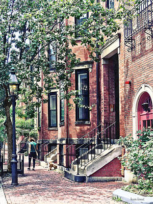Boston Ma - Walking The Dog On Mount Vernon Street Art Print