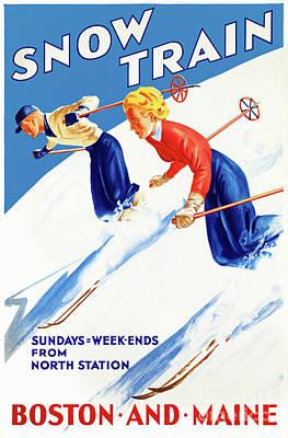 Mixed Media - Boston Maine Vintage Travel Poster Restored by Carsten Reisinger