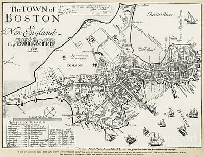 Charles Photograph - Boston Map, 1722 by Granger