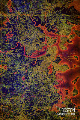 Old Map Digital Art - Boston Map 1893 by Pablo Franchi