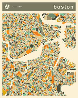 Boston City Digital Art - Boston Map 2 by Jazzberry Blue