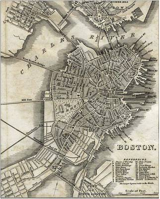 Boston Map Of 1842 Art Print by George Pedro