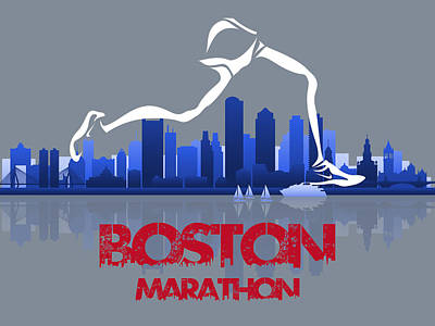 Berlin Mixed Media - Boston Marathon 3a Running Runner by Joe Hamilton