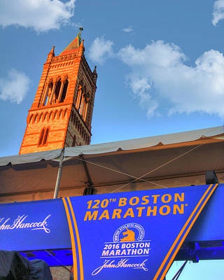 Photograph - Boston Marathon Finish Line And Old South Church - Boston by Joann Vitali